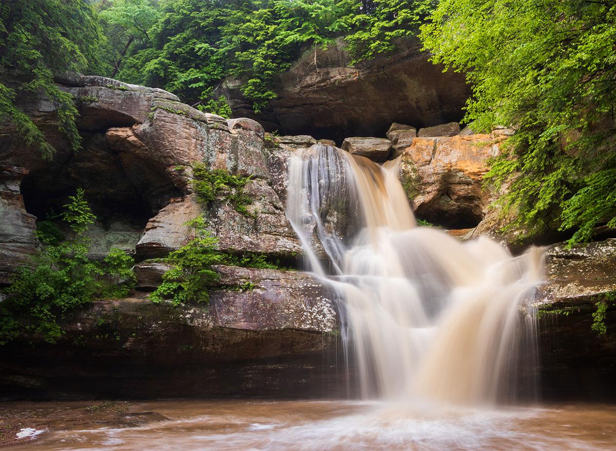 waterfall at hocking hills state park ohio