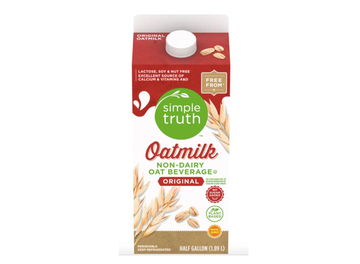 carton of kroger simple truth oat milk