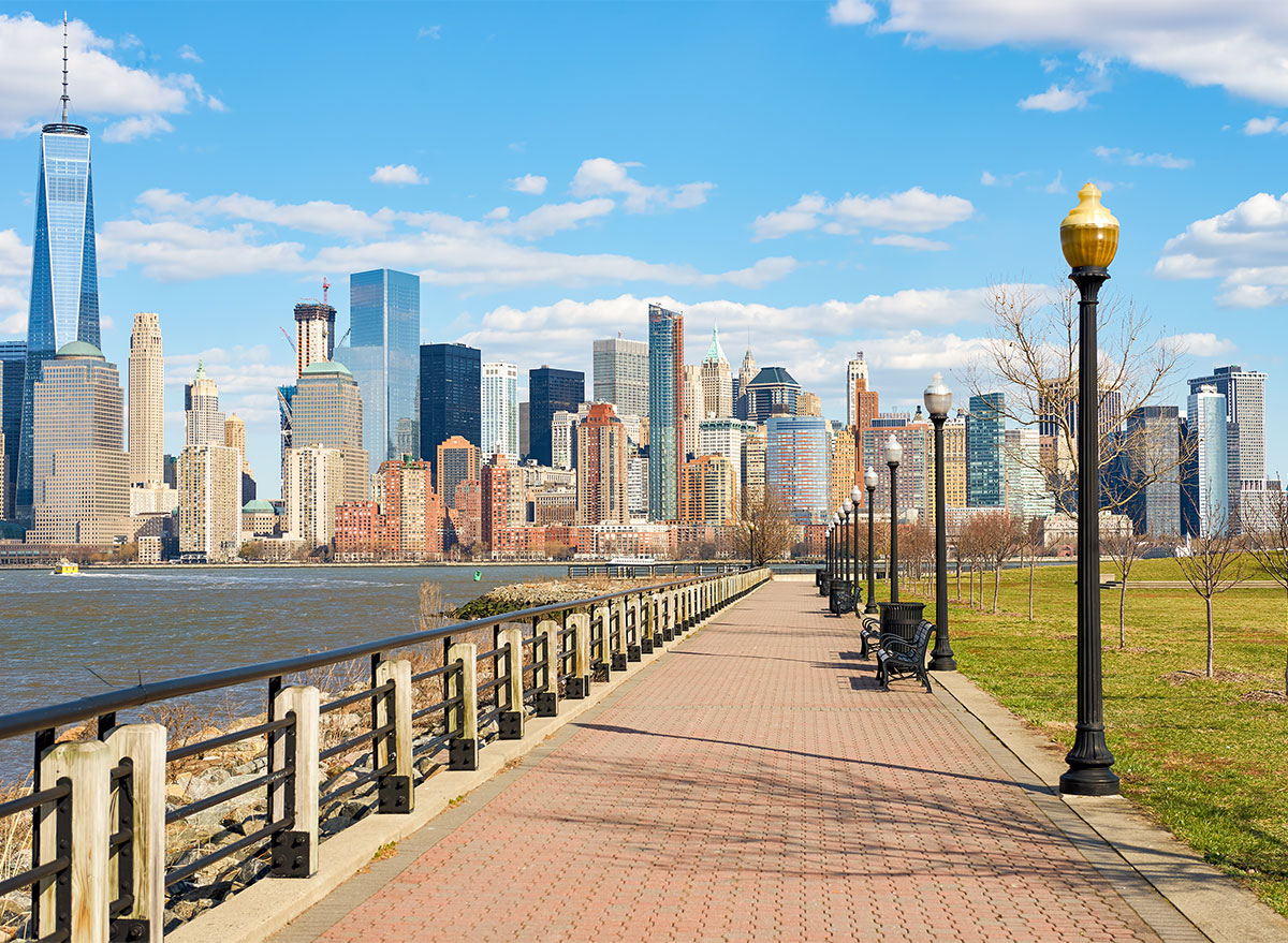 view of manhattan skyline from liberty state park new jersey