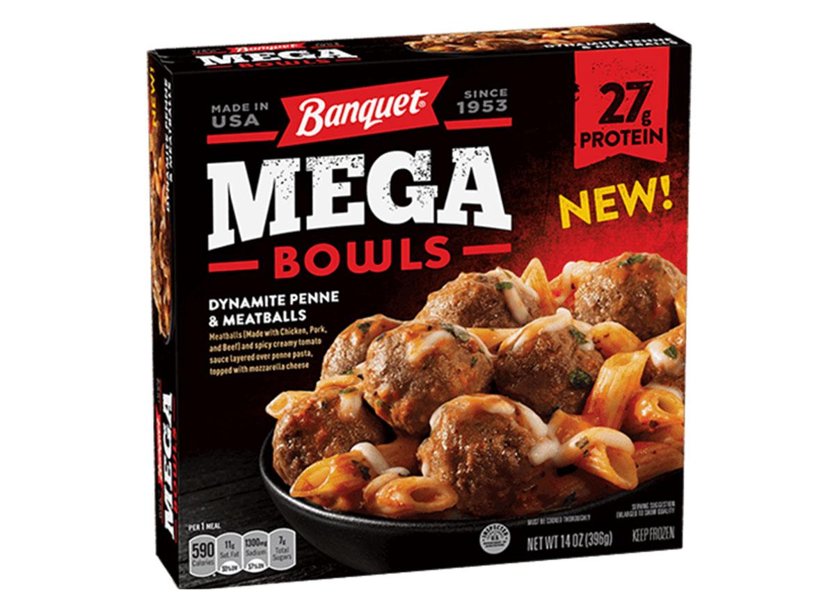 mega bowls dynamite penne and meatballs