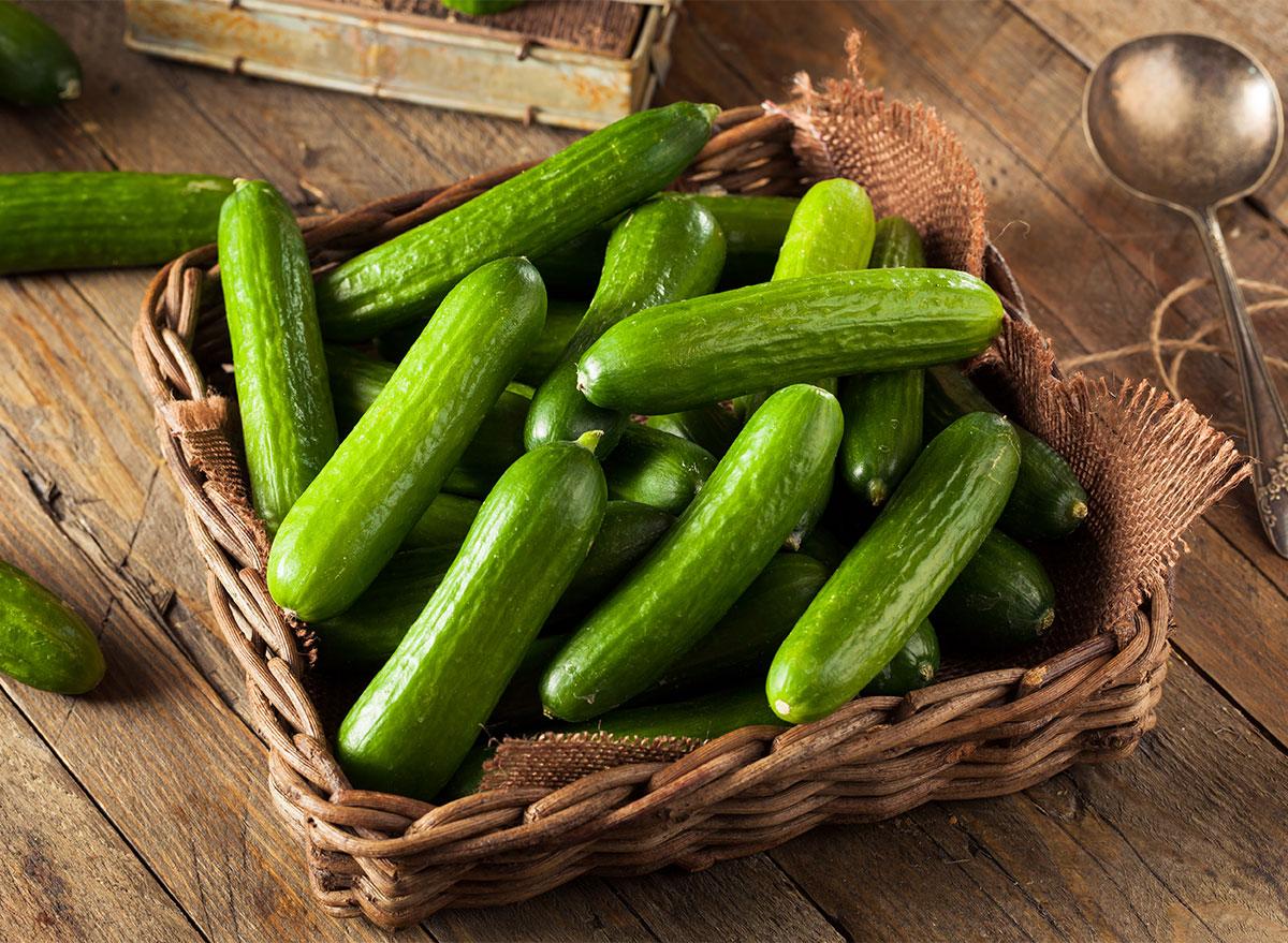 basket of mini cucumbers