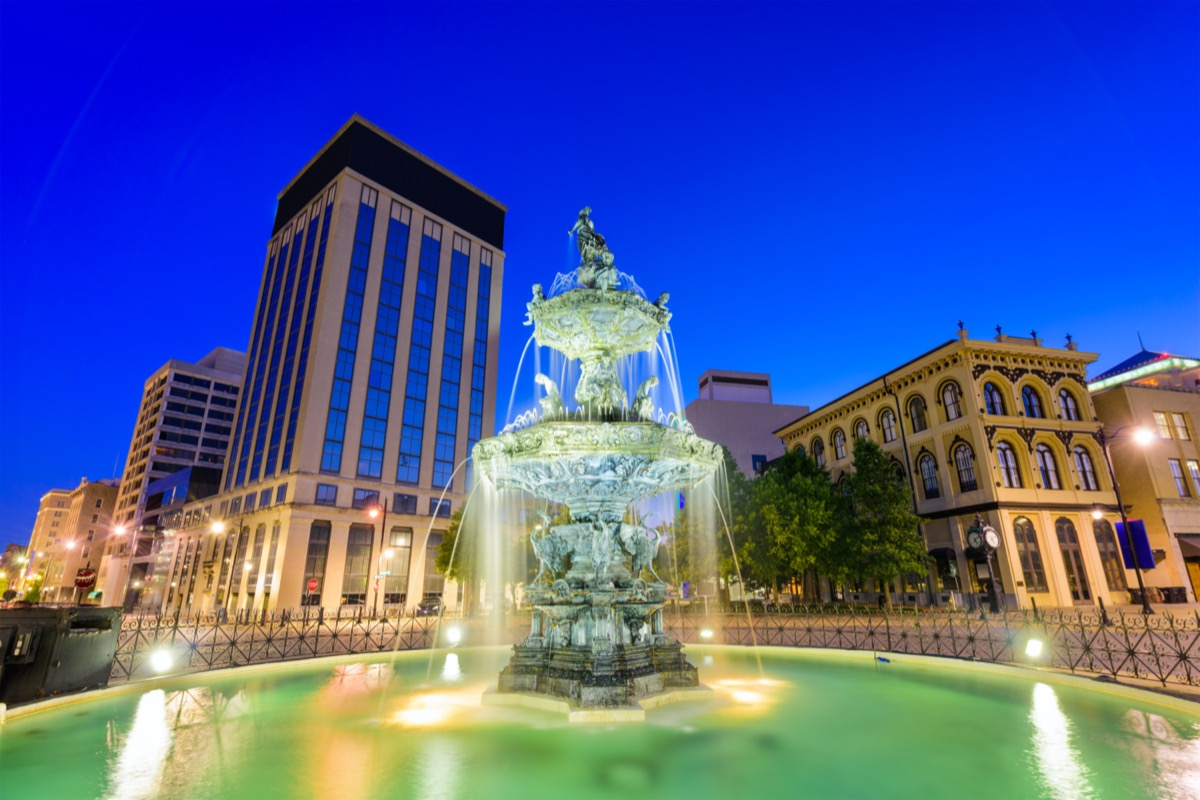 Montgomery, Alabama, USA fountain and downtown cityscape.