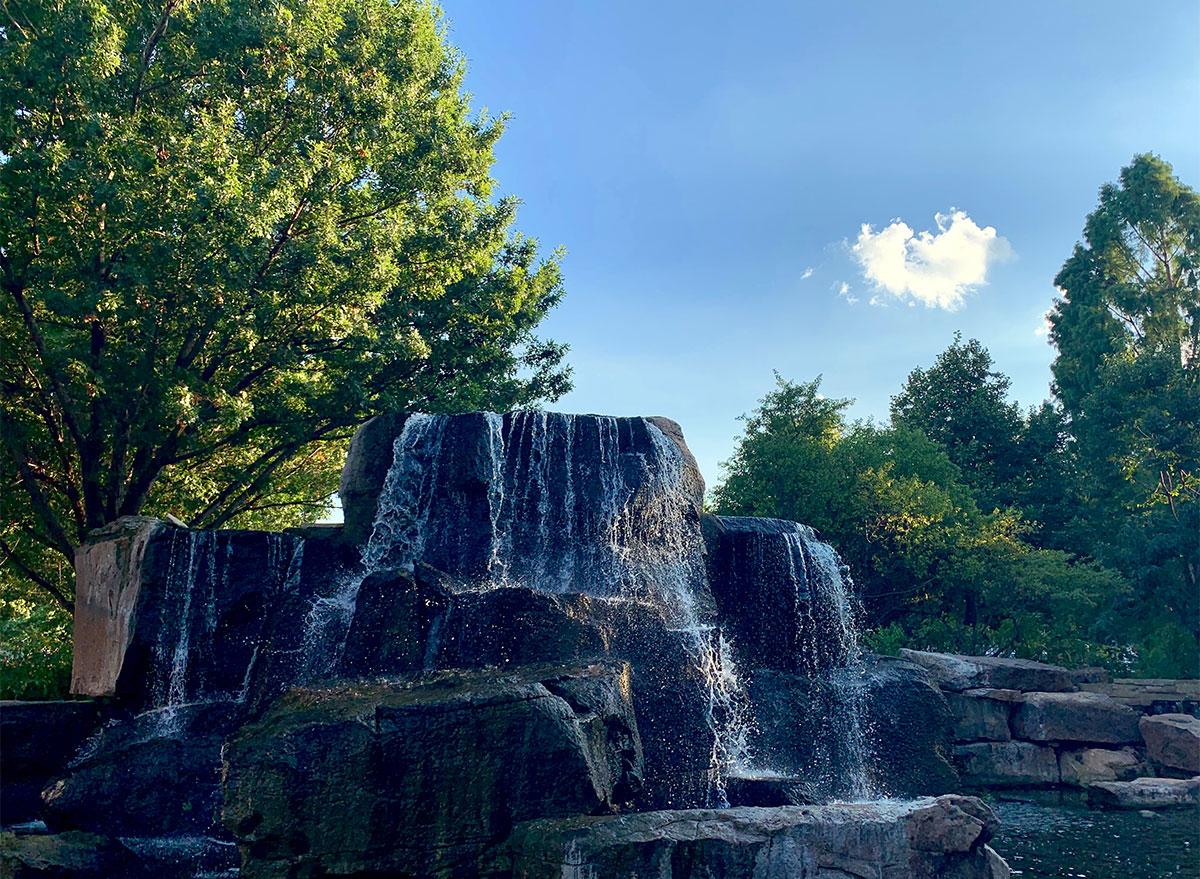 waterfall at myriad botanical gardens oklahoma