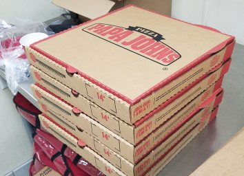 boxes of papa johns pizza