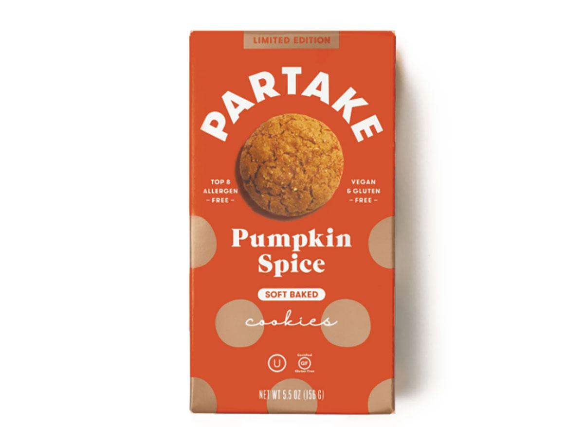 box of partake foods pumpkin spice cookies