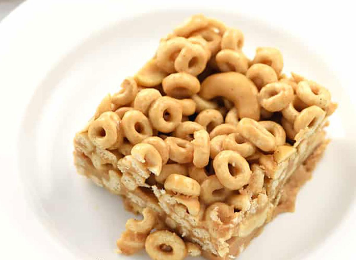 peanut butter cheerio bar on white plate