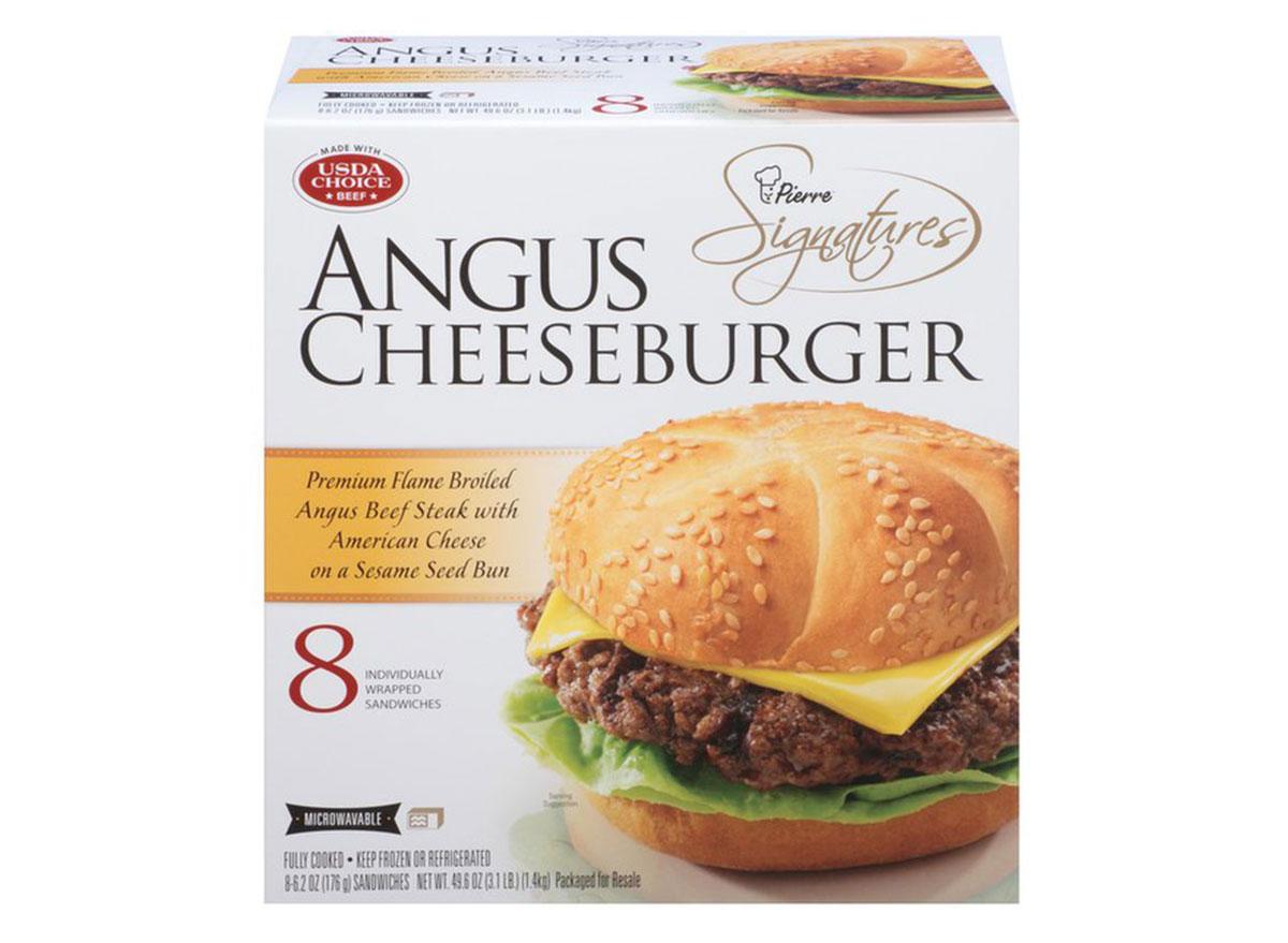 pierre signatures frozen angus cheeseburgers box