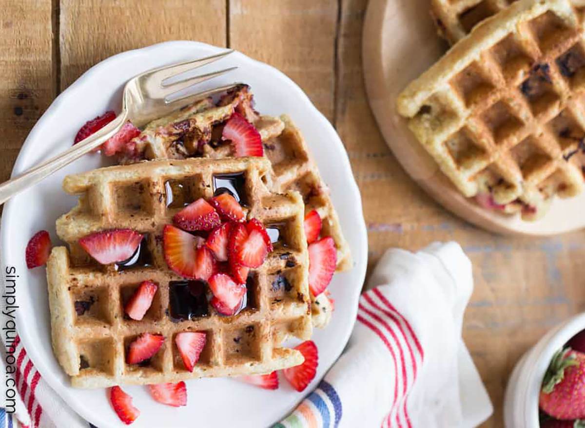square quinoa waffles topped with strawberry pieces