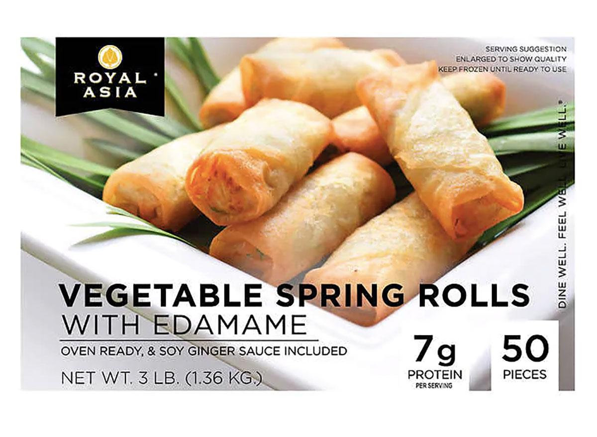 box of frozen vegetable spring rolls