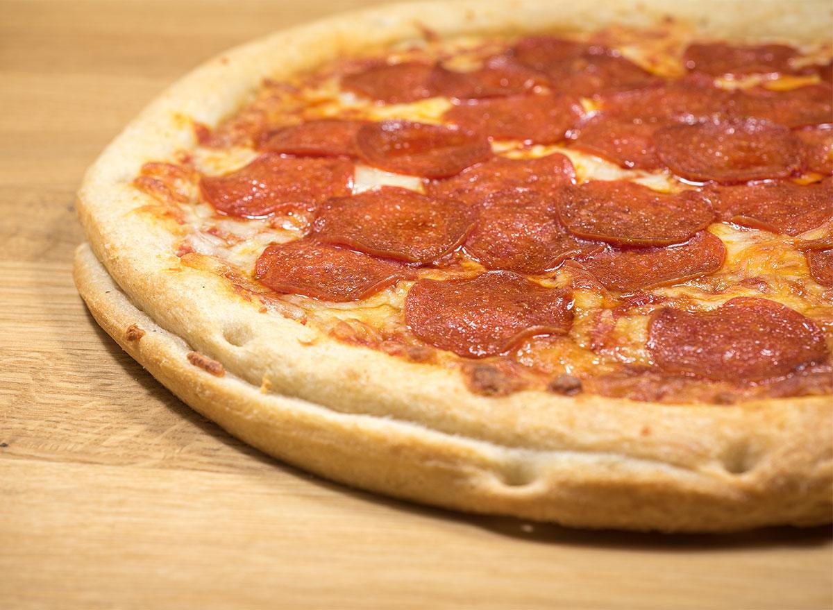 uncut pepperoni pizza