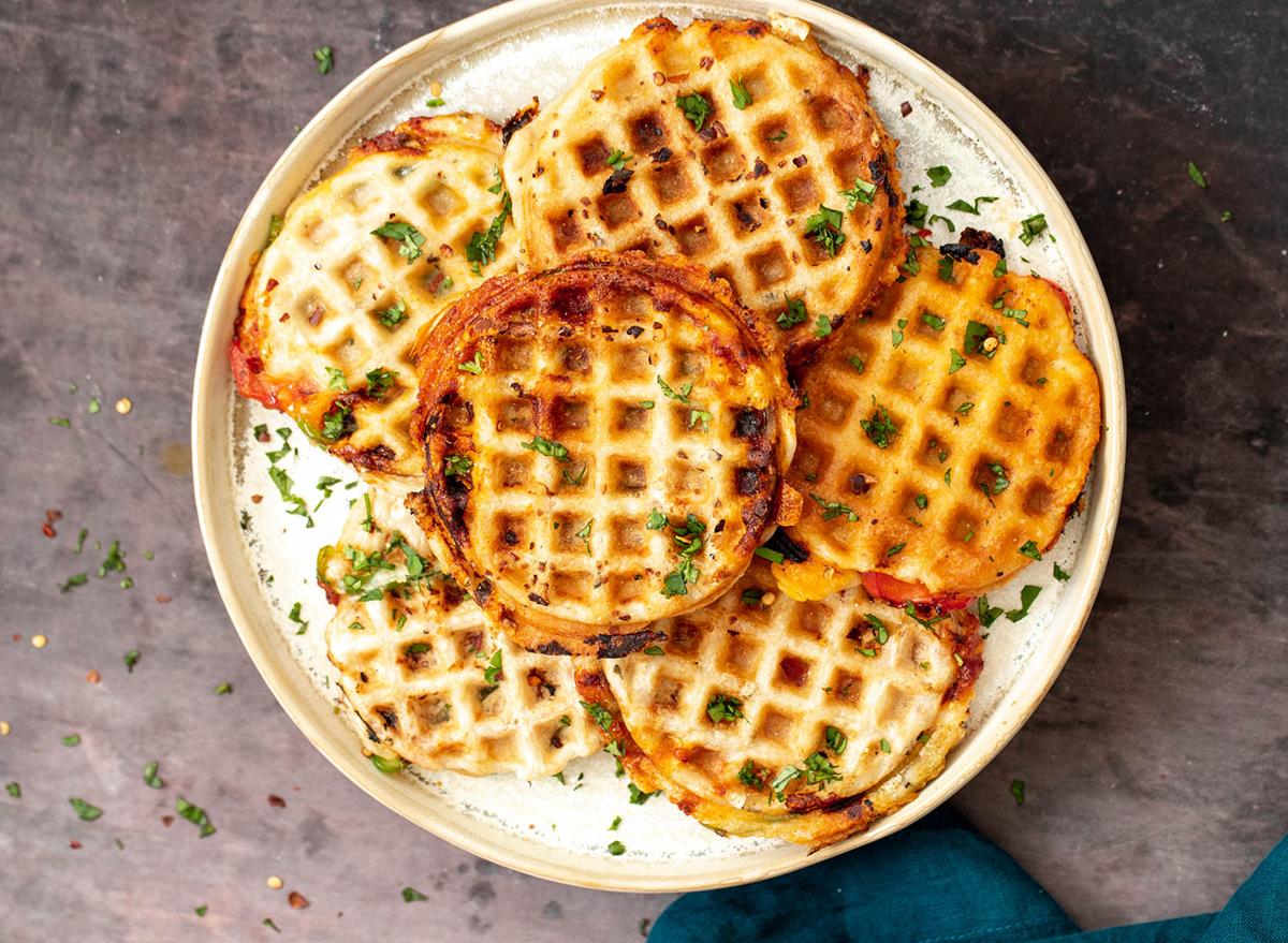 platter of pizza waffles