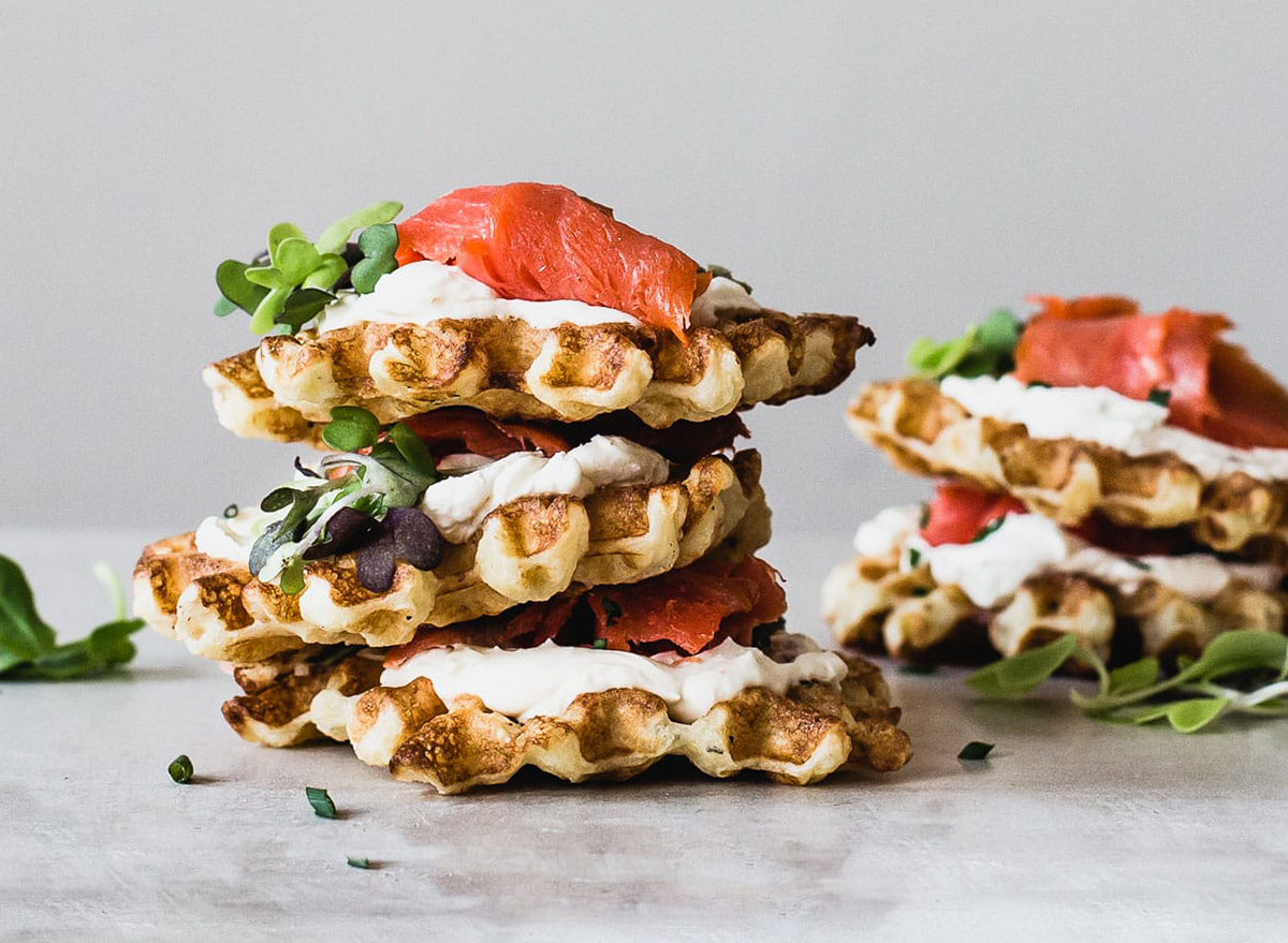 waffles topped with cream cheese and lox