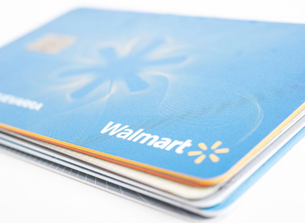 stack of walmart credit cards