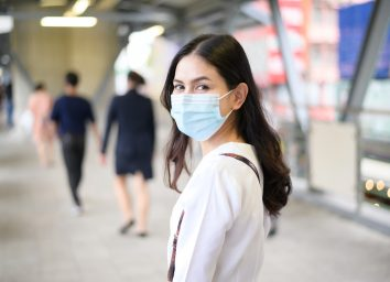 A young woman is wearing face mask on the street