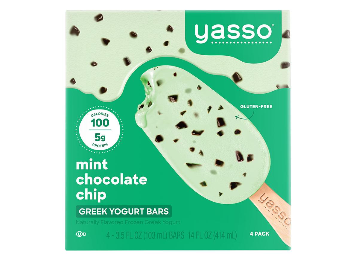 yasso mint chocolate chip frozen greek yogurt bars