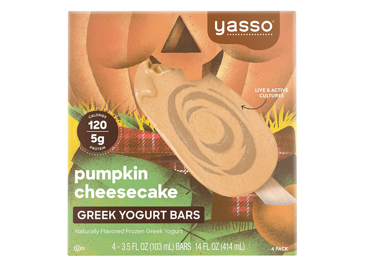 box of yasso pumpkin cheesecake greek yogurt bars