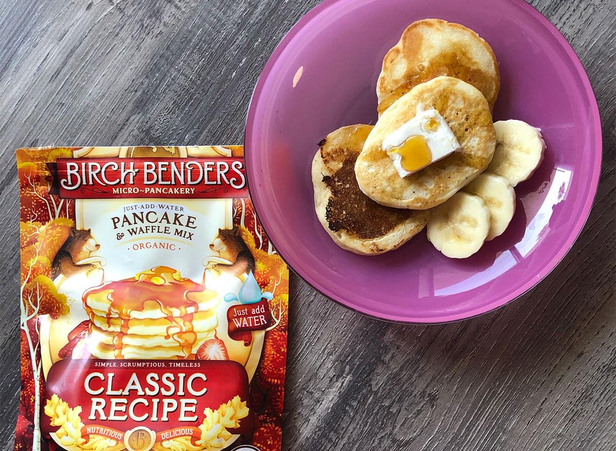 birch benders pancake mix and plate of pancakes