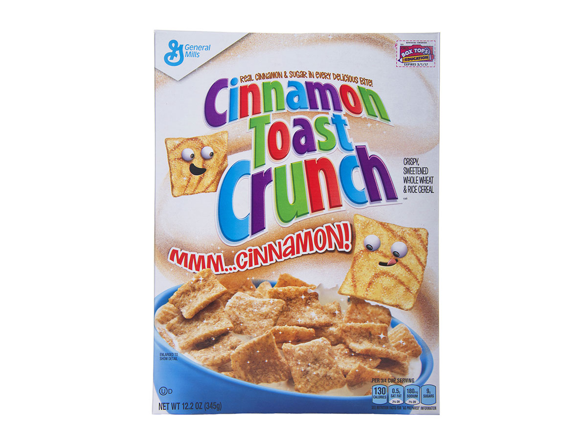box of cinnamon toast crunch cereal