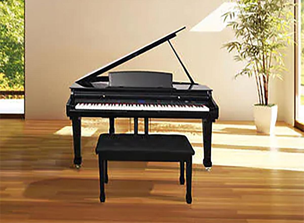 costco digital grand piano in living room