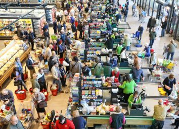 crowded grocery store