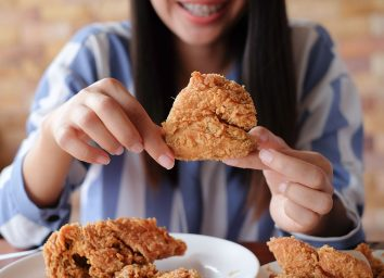 eating chicken