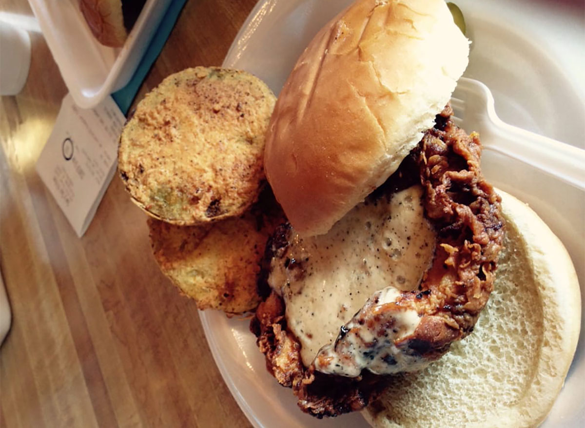 fried chicken sandwich from saws soul kitchen birmingham alabama