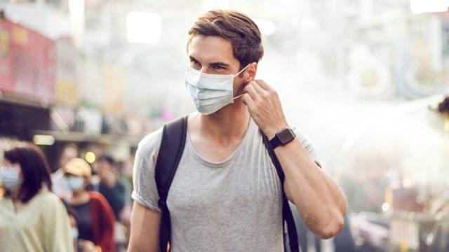 Male face mask wear street outdoor