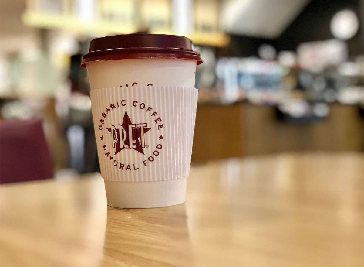 pret a manger hot coffee cup on table
