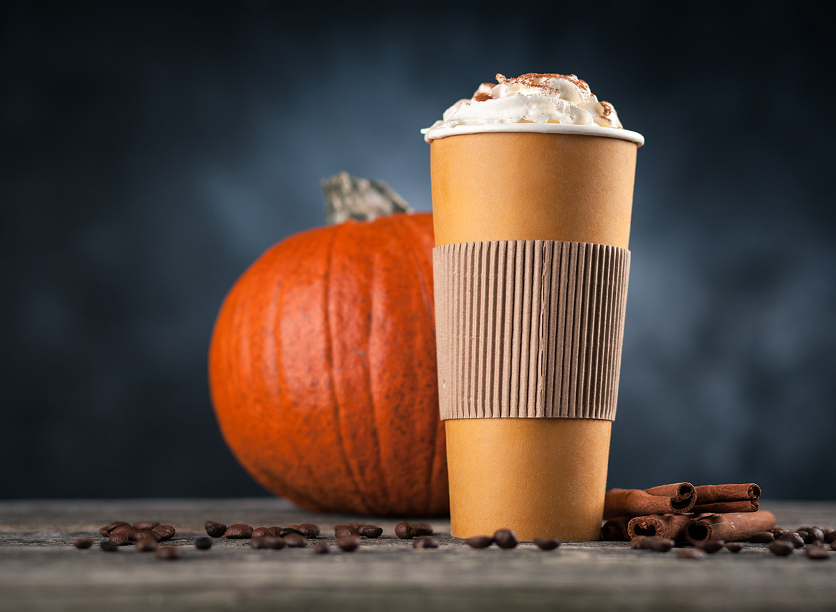 pumpkin spice latte in a to go cup