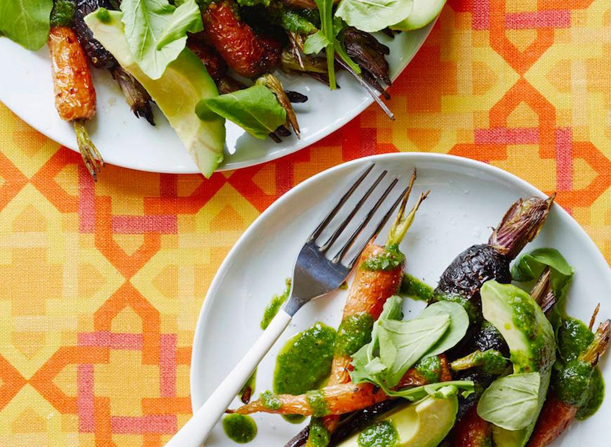 roasted carrot avocado salad