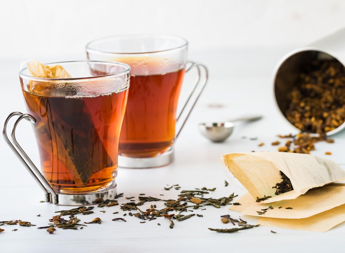 Steep loose leaf tea in a cup