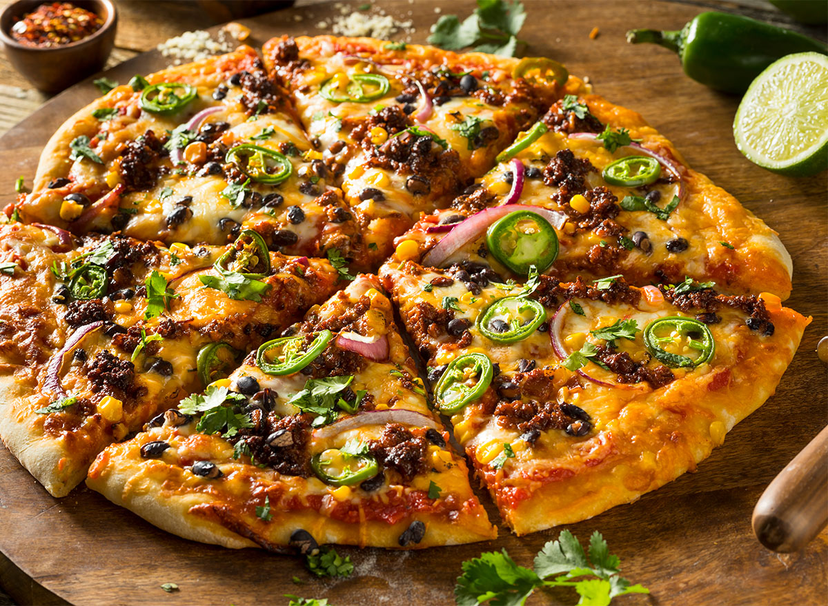 taco pizza with jalapenos