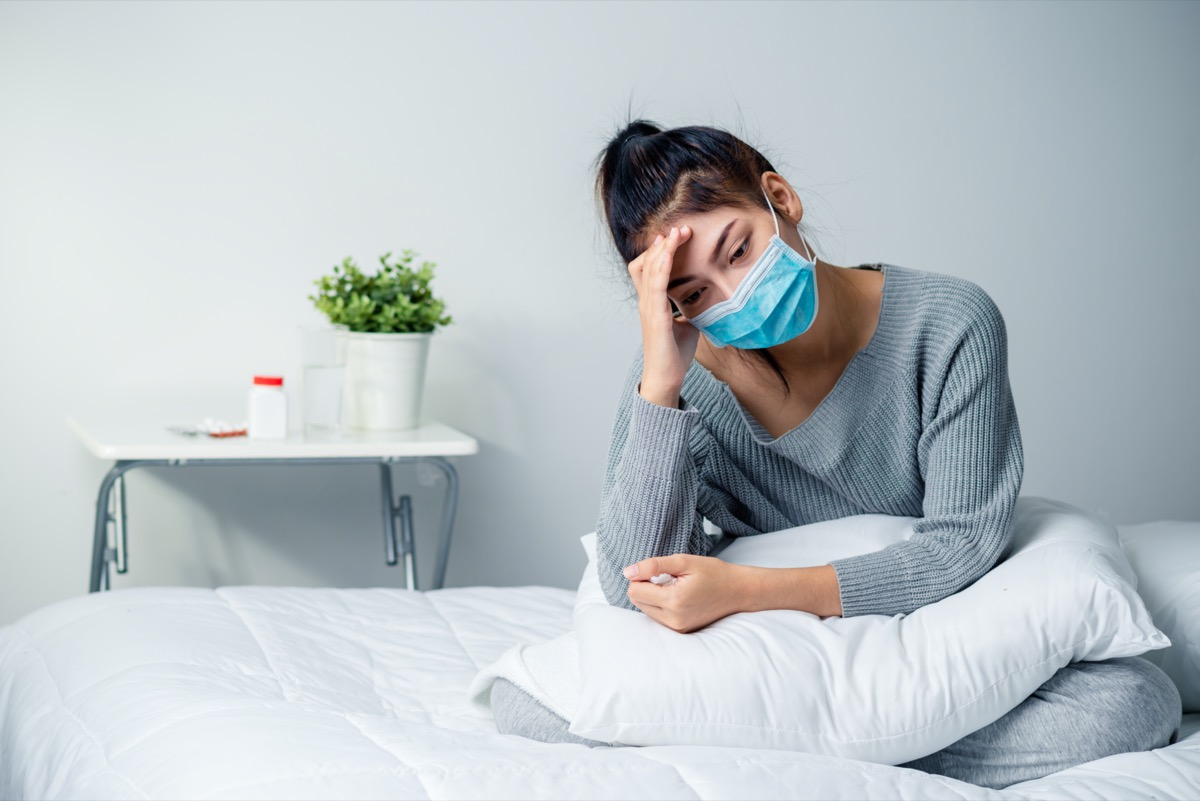 Sick Woman On Bed