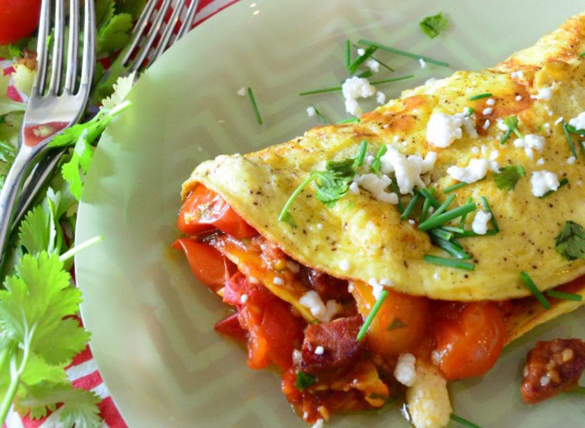 tomato chorizo omelet