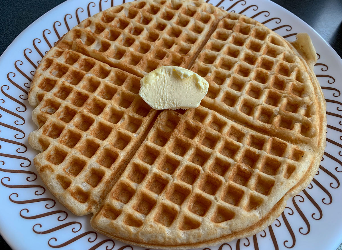 waffle house waffle on plate with butter pat
