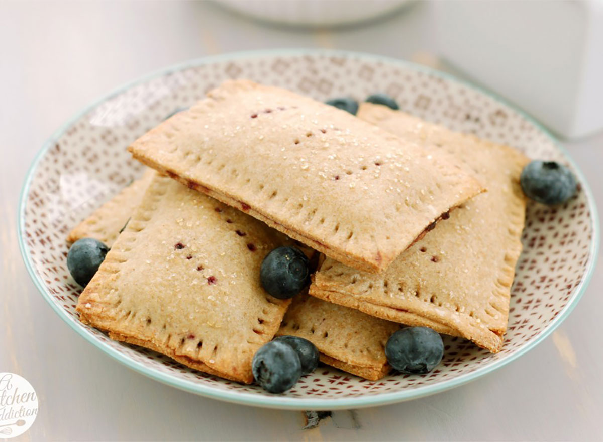homemade blueberry toaster pastries on a plate