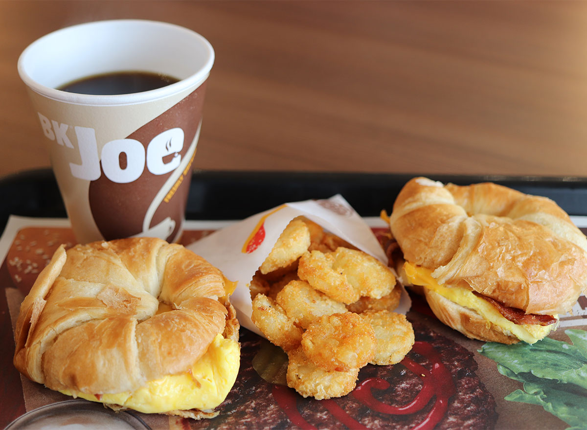 burger king croissanwich sandwiches with coffee and hash browns