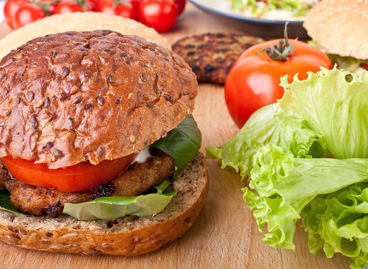 burger on whole wheat bun