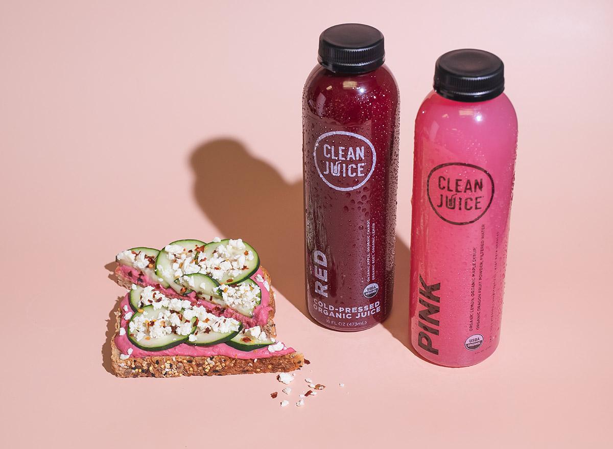 clean juice with hummus toast