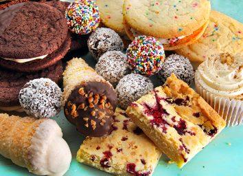 dessert assortment on blue table