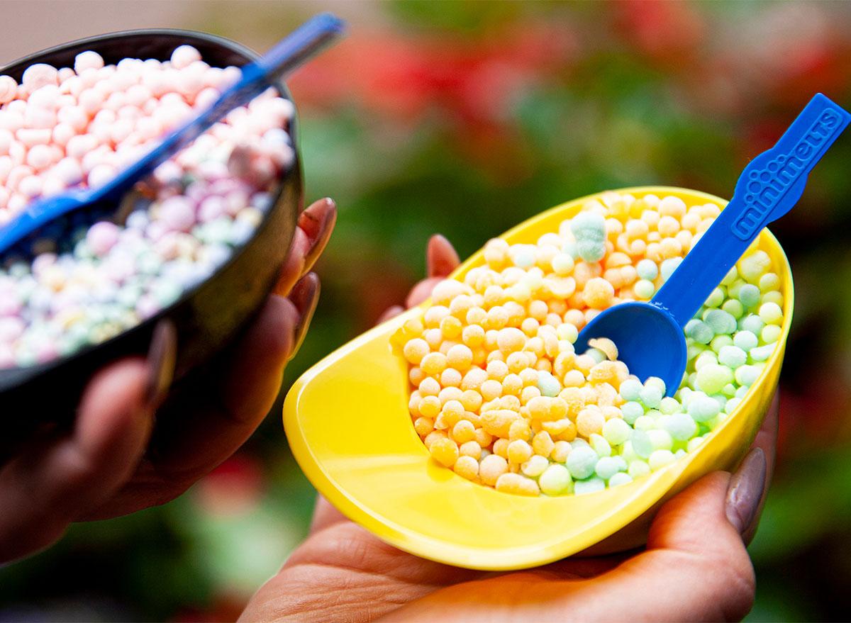 dippin dots ice cream in plastic helmets