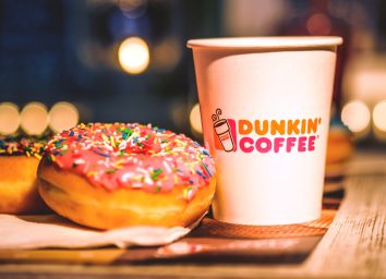 Dunkin donuts coffee cup and doughnut