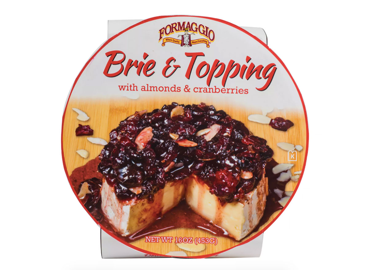 formaggio brie wheel with almond and cranberry topping