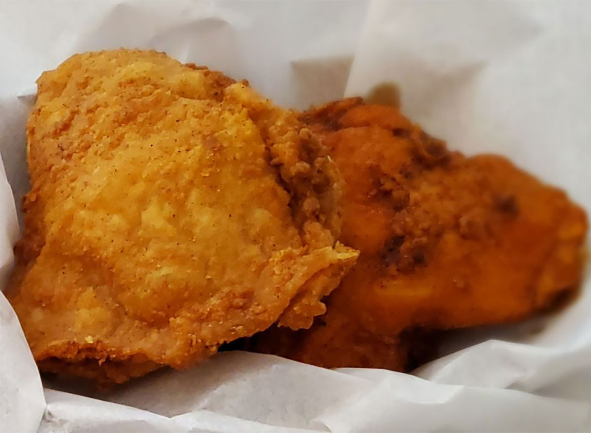two pieces of fried chicken