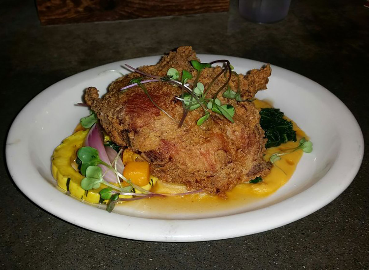 plated fried chicken
