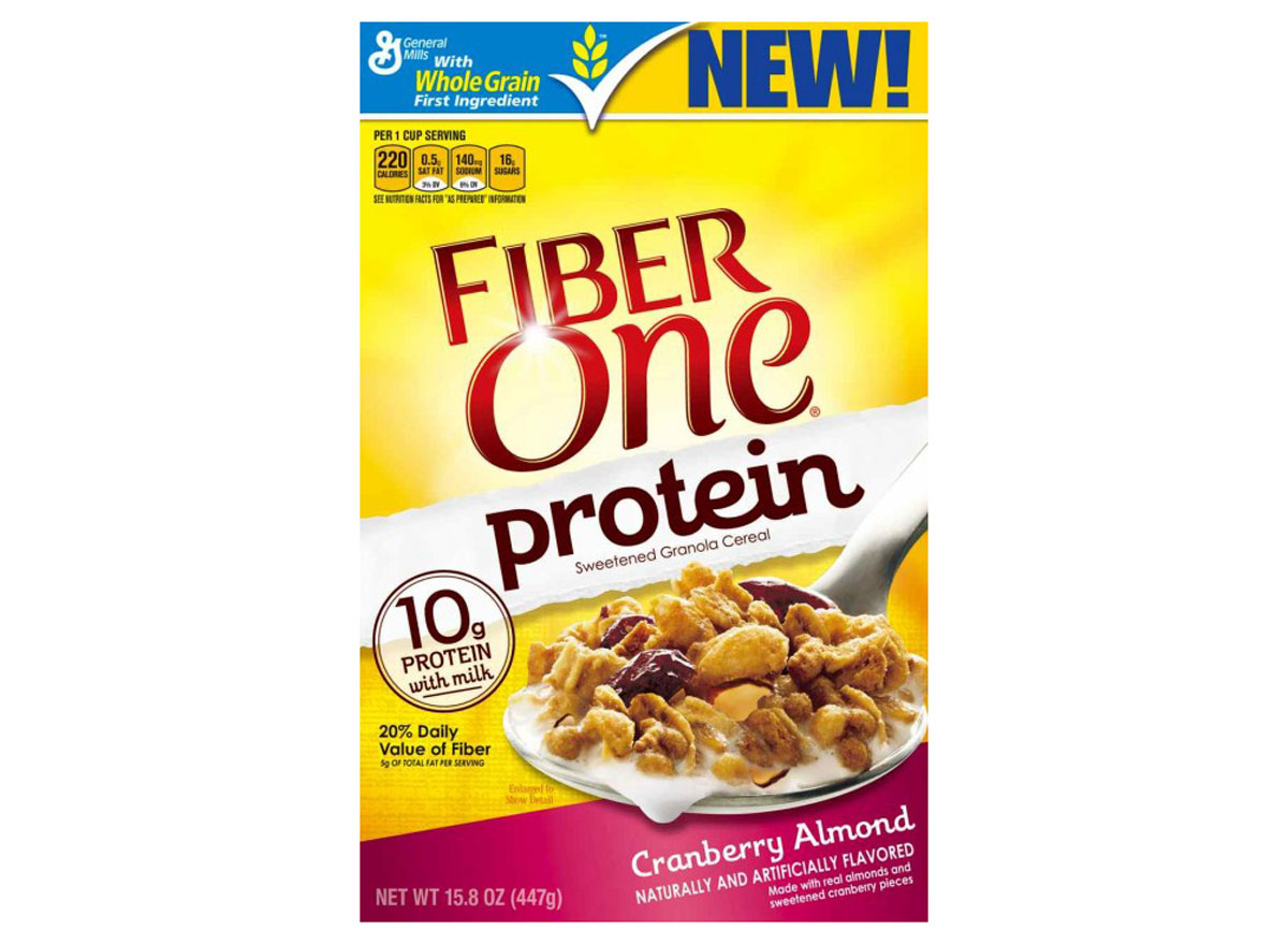 general mills fiber one protein sweetened granola cereal box