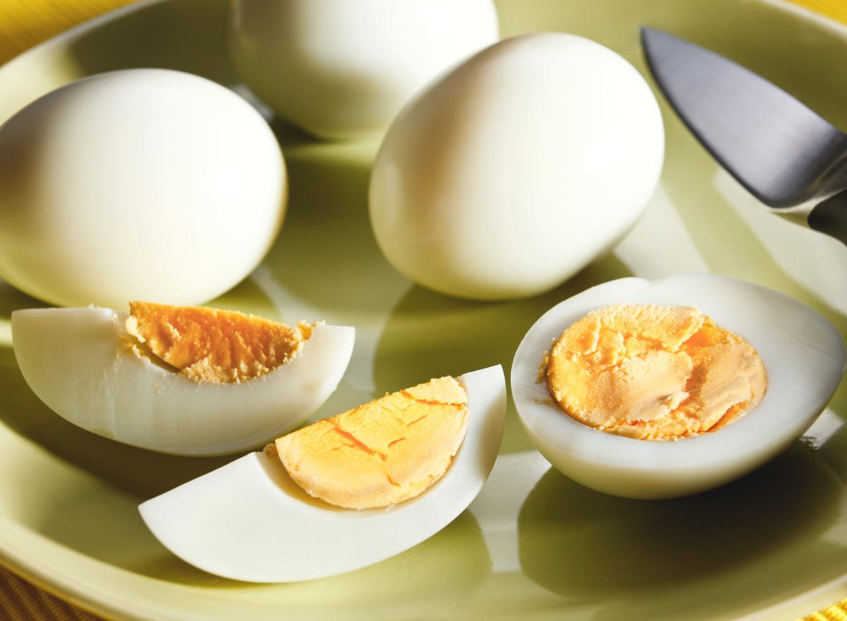 sliced hardboiled eggs