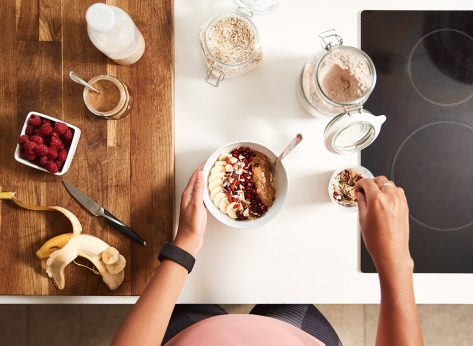 eat healthy breakfast table with oatmeal