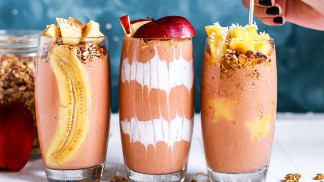 healthy smoothies with fruit and toppings