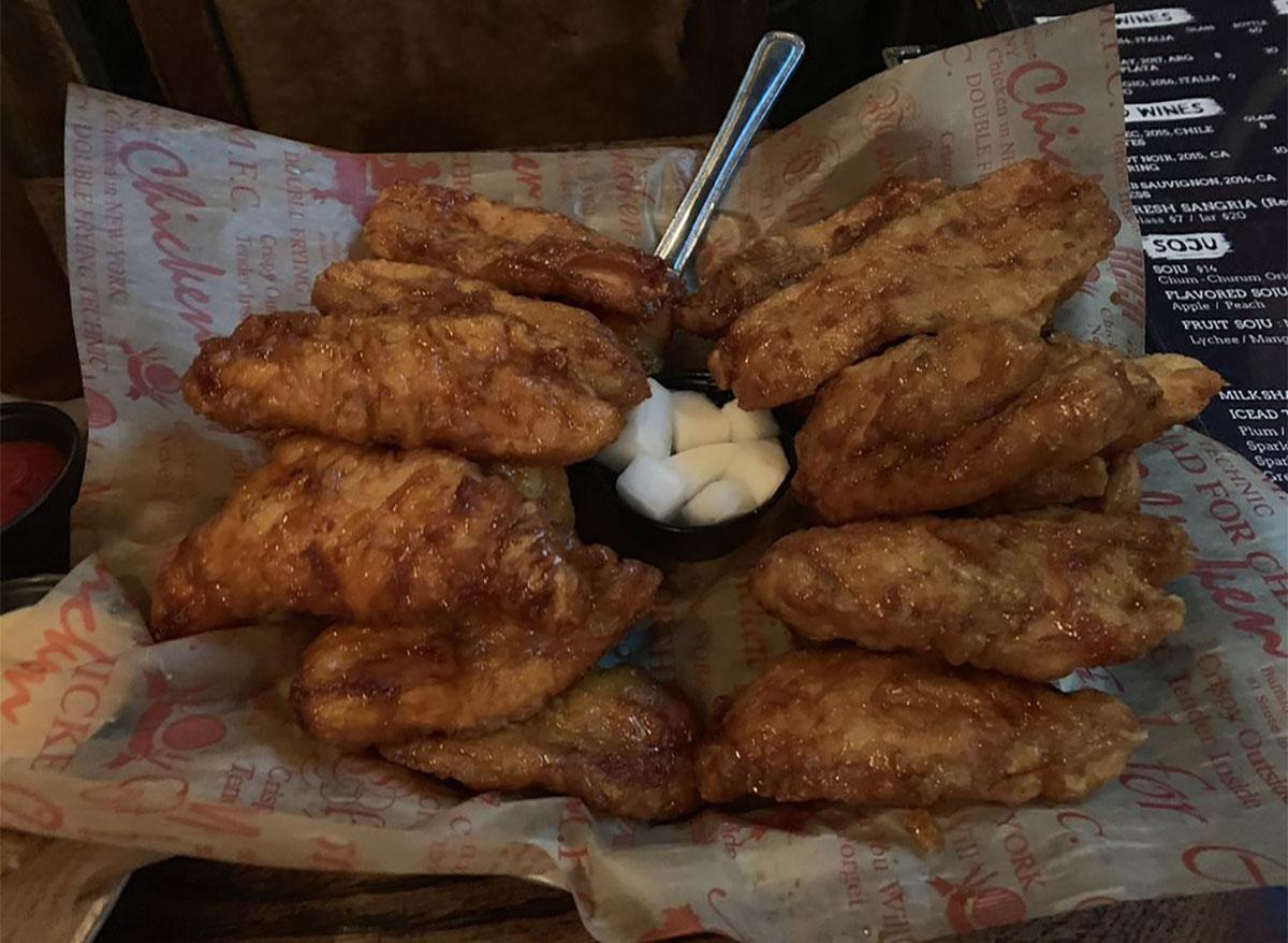 plate of korean fried chicken